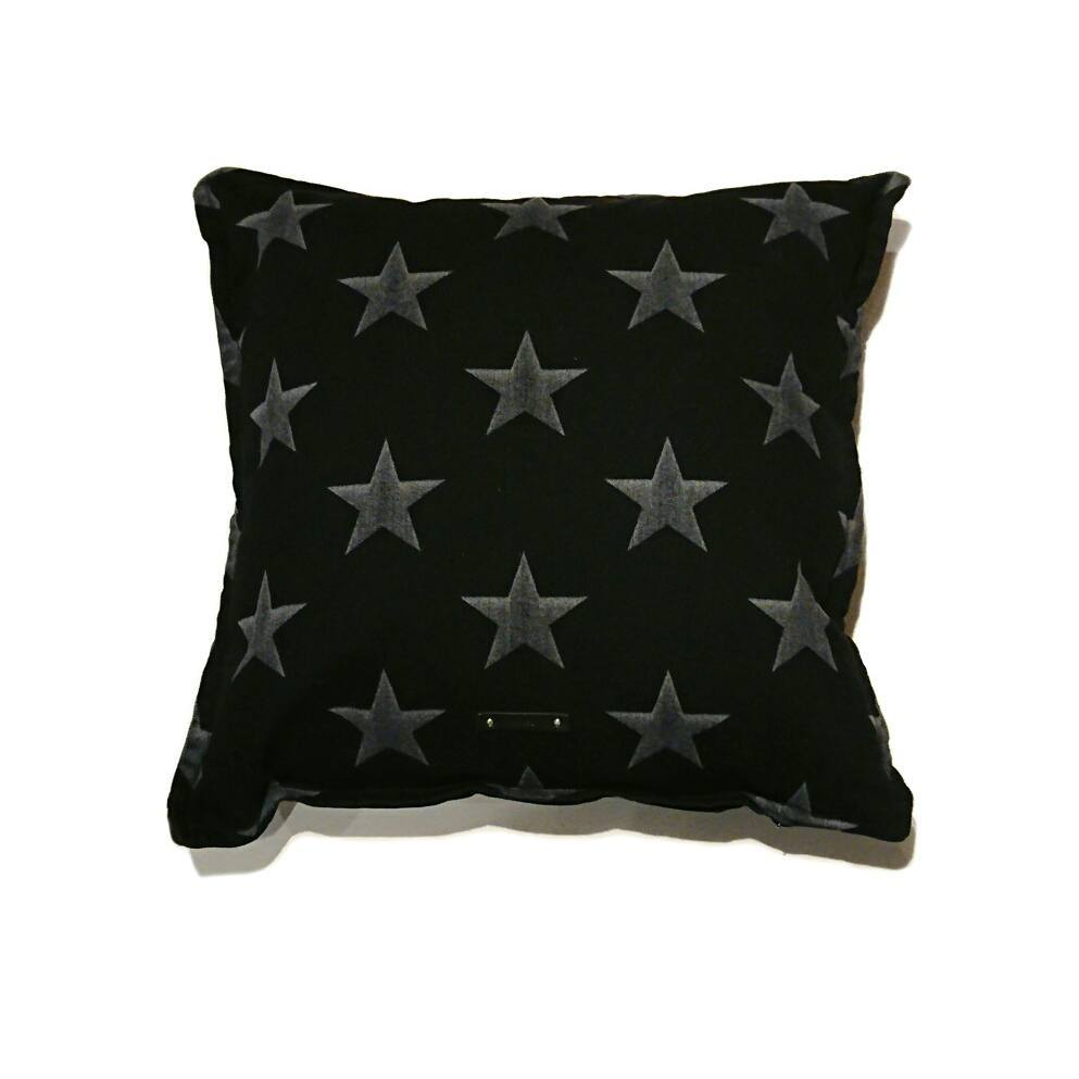 MINEDENIM BLACK DENIM STAR CUSHION