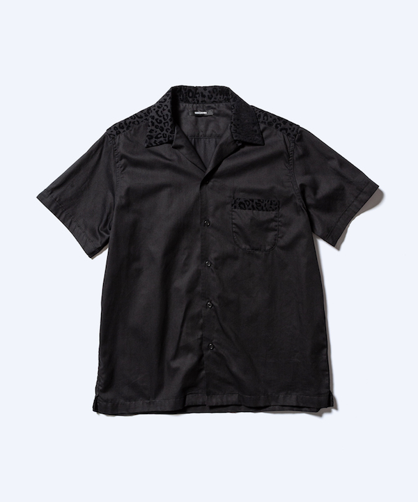 MINEDENIM Leopard Trimming S/S Open Collar SH