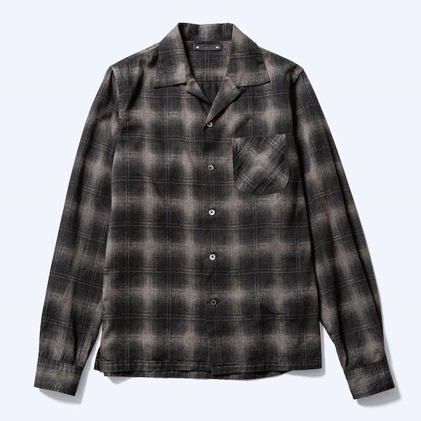 MINEDENIM Discharge Check L/S Open Collar SH