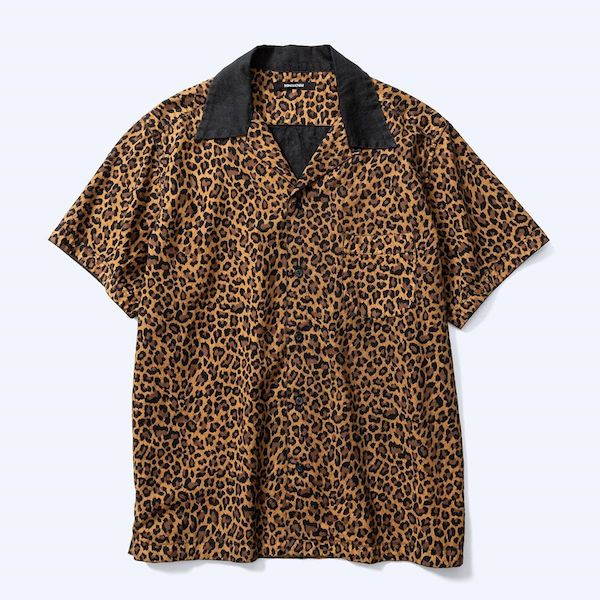 MINEDENIM Leopard S/S Open Collar SH
