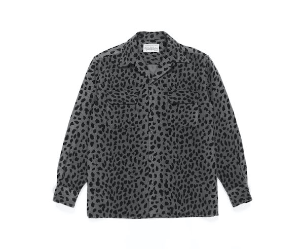 WACKO MARIA LEOPARD WOOL OPEN COLLAR SHIRT