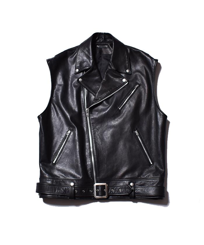 MINEDENIM Leather Nosleeve Riders JKT