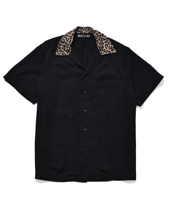 MINEDENIM CD Leopard Trimming Open Collar SH