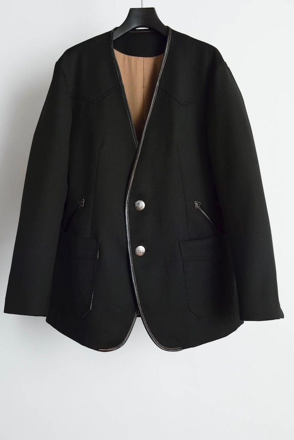 The Letters Western Collarless Concho Jacket. -Gabardine Wool-