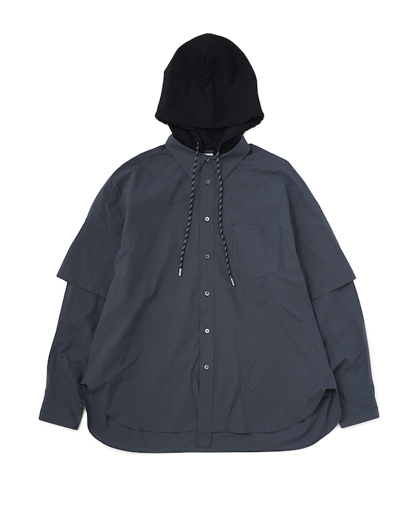 Name. COTTON TYPEWRITER HOODED SHIRT