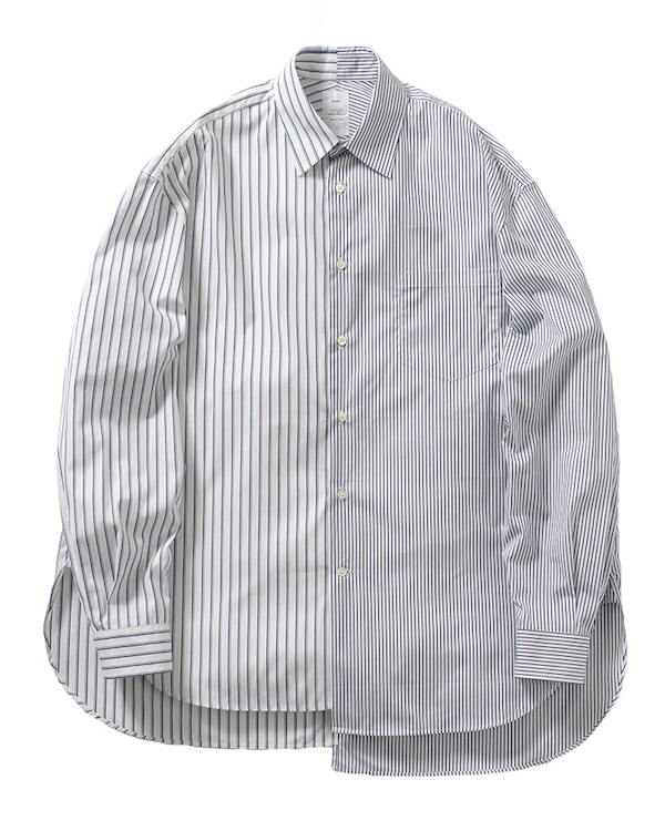 Name.ASYMMETRIC STRIPED SHIRT
