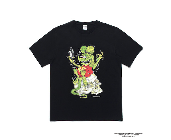 WACKO MARIA RAT FINK / TIMLEHI / WASHED HEAVY WEIGHT CREW NECK COLOR T-SHIRT