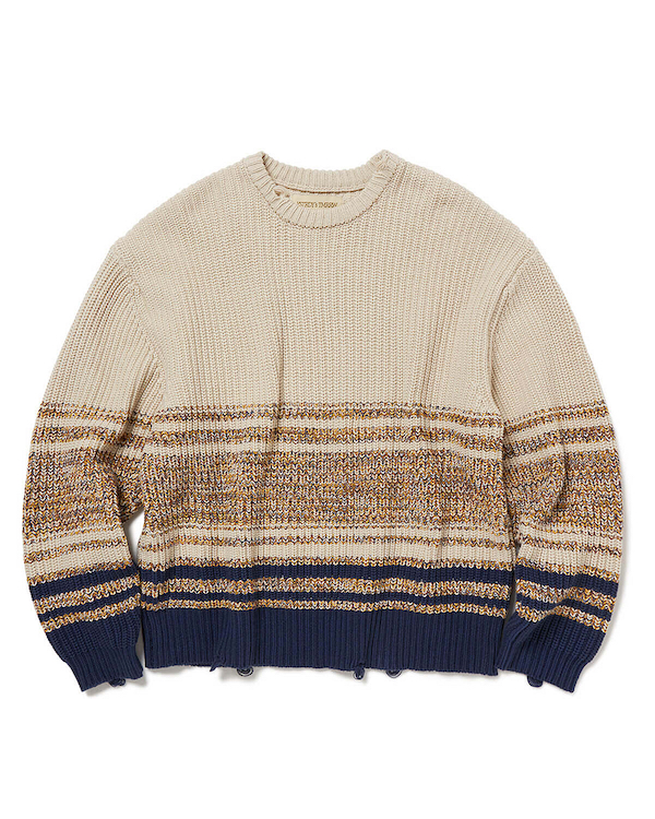 YSTRDY's TMRRW MIX WOVEN BORDER PHAT SWEATER