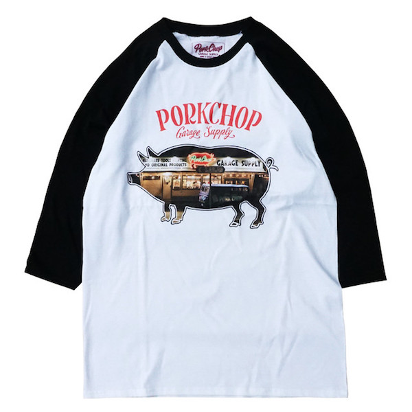 PORKCHOP GARAGE SUPPLY SHOP PHOTO RAGLAN TEE