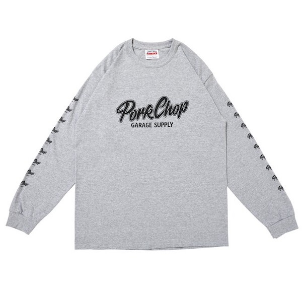 PORKCHOP GARAGE SUPPLY SCRIPT LOGO L/S TEE